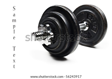 Black and silver dumbbells on a white background with space for text - stock photo