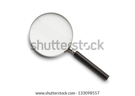 Black and Silver Magnifying Glass Isolated on a White Background. - stock photo