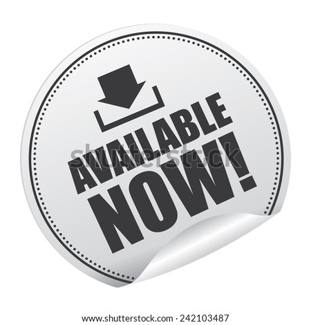 Black and Silver Metallic Available Now! Sticker, Icon or Label Isolated on White Background  - stock photo