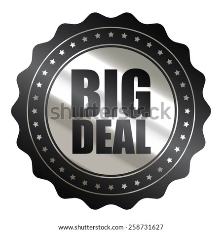black and silver metallic big sale sticker, badge, icon, stamp, label, banner, sign isolated on white  - stock photo