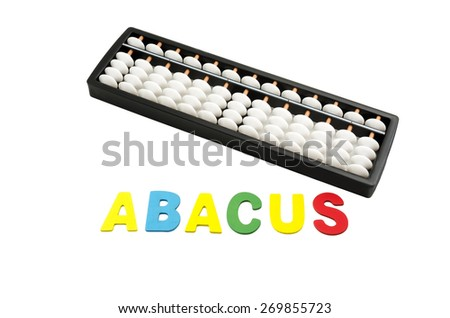 "black and white abacus with colorful alphabets ""ABACUS"" on white background - stock photo"