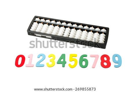 black and white abacus with colorful numeric 0 to 9 on white background - stock photo