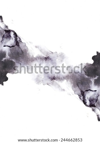 Black and white abstract background. Black and white watercolor background for textures and backgrounds. Monochrome abstract background. Hand drawn watercolor backdrop, stain watercolors on wet paper. - stock photo