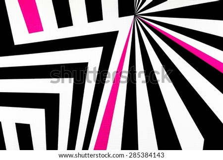 black and white abstract regular geometric fabric texture background, with pink line  - stock photo