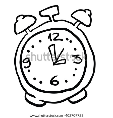 black and white alarm clock cartoon - stock photo