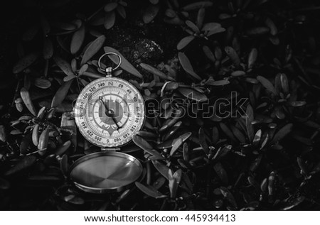 Black and white analogical compass abandoned on grass near the beach. - stock photo