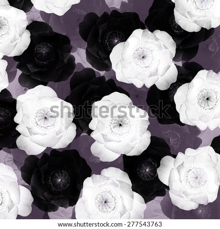 black and white anemones and roses pattern, monochrome vintage background - stock photo