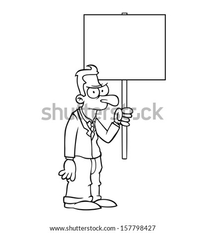 Black and white angry business man holding empty protest sign. - stock photo
