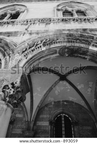 Black and white arch. - stock photo