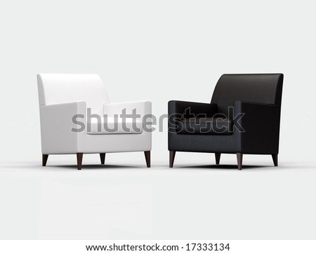 Black and white armchair on white background - stock photo