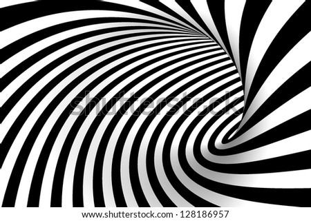 Black and white background. Abstract tunnel. - stock photo