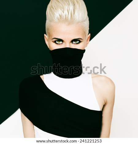 Black and white background Girl ninja style. Fashionable hairstyle - stock photo