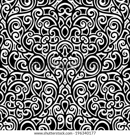 Black and white background, swirly raster ornament, vintage seamless pattern - stock photo