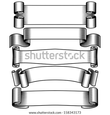 black and white banners set - stock photo