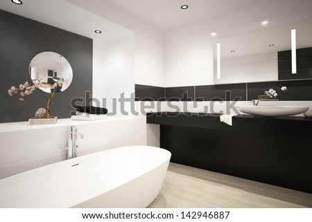 Black and white bathroom interior with bathtub - stock photo
