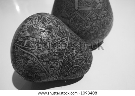 black and white baubles - stock photo