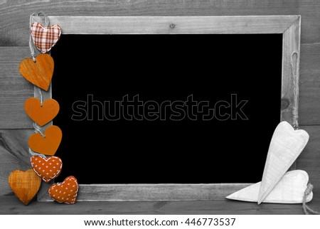 Black And White Blackbord, Orange Hearts, Copy Space - stock photo