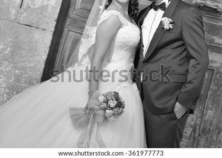 black and white bride groom - stock photo