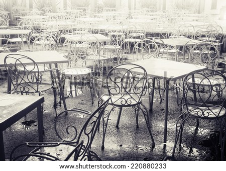 Black and white Cafe  - stock photo