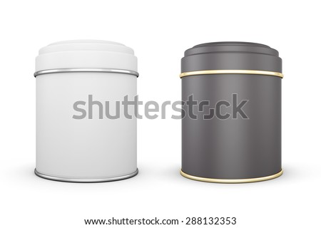 Black and white cans of tea isolated on white background. Template cans for your design. 3d illustration. - stock photo