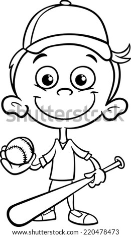 Black and White Cartoon Illustration of Funny Boy Baseball Player with Bat and Ball for Coloring Book - stock photo
