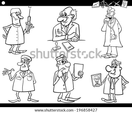Black and White Cartoon Illustration of Funny Medical Staff Doctors Characters Set for Coloring Book - stock photo