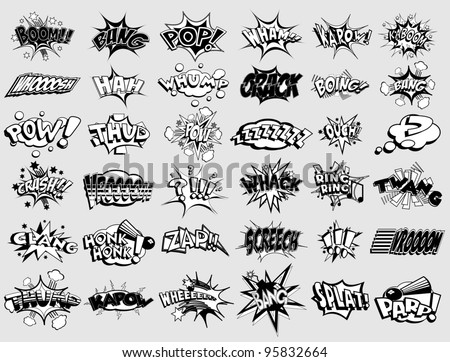 Black and white cartoon text captions. explosions and noises - stock photo