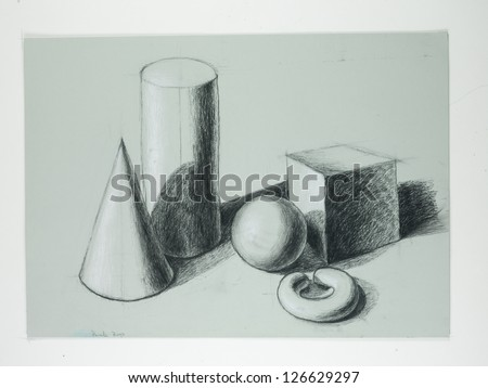 black and white charcoal, hand drawn artwork of many different geometric shapes placed in an artistic composition - stock photo