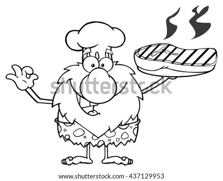 Black And White Chef Male Caveman Cartoon Mascot Character Holding Up A Platter With Big Grilled Steak And Gesturing Ok. Raster Illustration Isolated On White Background - stock photo