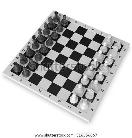Black and white chess isolated on white background - stock photo