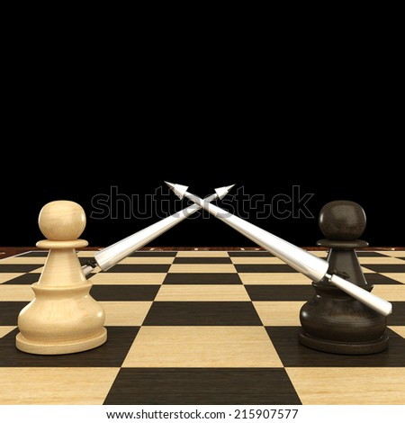 Black and white chess pawn with spears. isolated. black background. 3d - stock photo