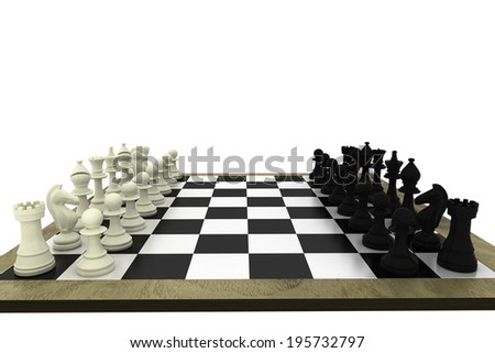 Black and white chess pieces on board on white background - stock photo