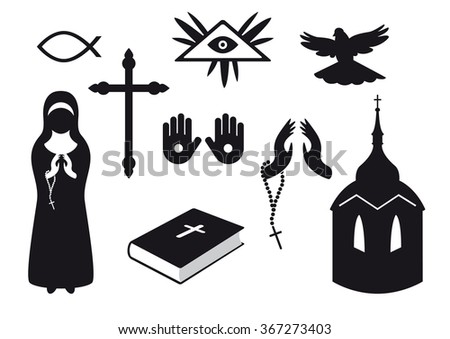 Black and white Christian icons. Set of Christian symbols. Traditional symbols of believers. Set of religious objects. Collection gods objects. Icons of religion. Religious elements - stock photo
