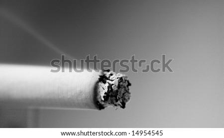 Black and white - cigarette - stock photo