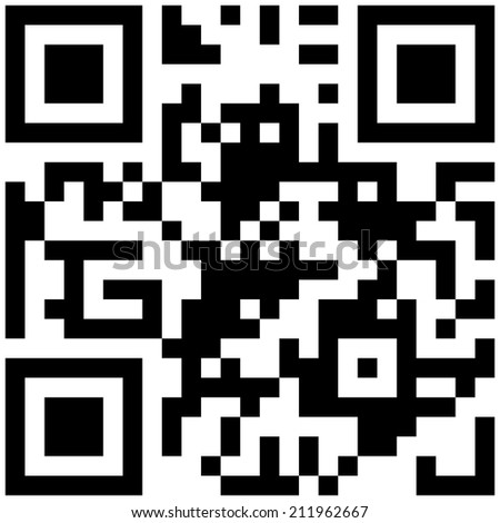 """Black and white classic QR code with text """"I love you!"""" - stock photo"""