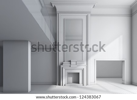 black-and-white classical interior without textures - stock photo