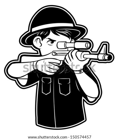 black and white clipart Hunter - stock photo