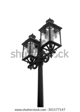 black and white close up street lamp isolated on white background - stock photo