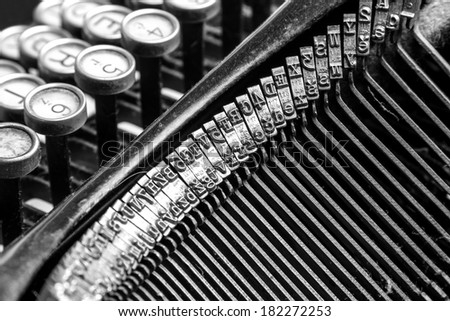Black and white close-up view of an old typewriter - stock photo
