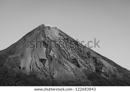 Black and white closeup of the top of Conception volcano on Ometepe Island, Nicaragua - stock photo