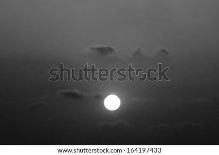 black and white cloudy sunrise (sunset - stock photo