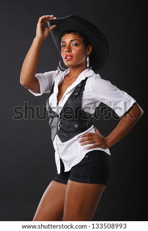 Black and white color cowgirl - stock photo