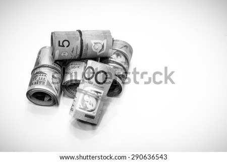 Black and white color of Australian Dollars roll with all denomination - stock photo