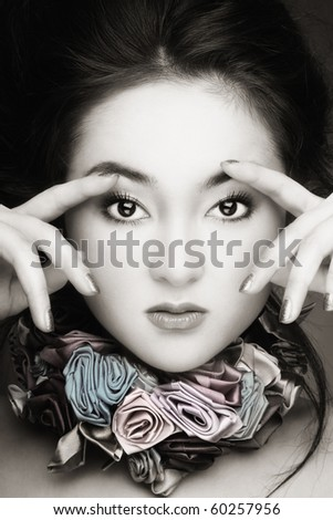 Black and white colored portrait of young beautiful asian girl - stock photo