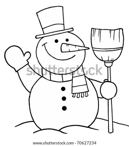 Black And White Coloring Page Outline Of A Snowman With A Broom - stock photo
