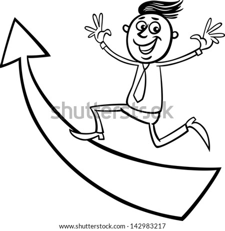 Black and White Concept Cartoon Illustration of Happy Man or Businessman Running Up on Big Arrow - stock photo