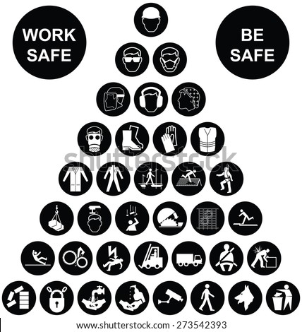 Black and white construction manufacturing and engineering health and safety related pyramid icon collection isolated on white background with work safe message - stock photo