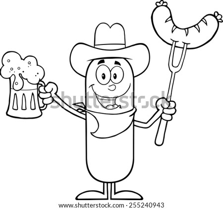 Black And White Cowboy Sausage Cartoon Character Holding A Beer And Weenie On A Fork. Raster Illustration Isolated On White - stock photo