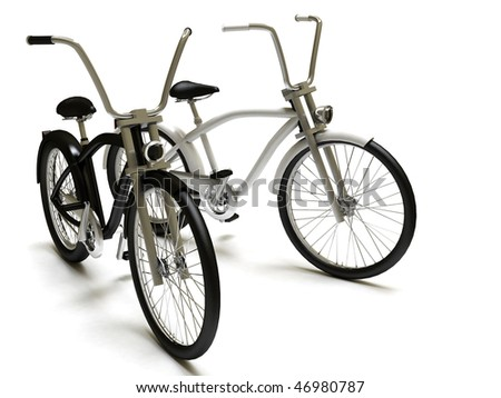 Black and white cruiser bicycles, isolated on white. 3D model - stock photo