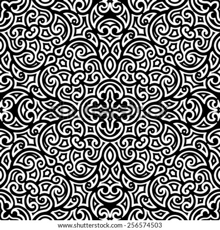 Black and white curly ornament, vintage seamless pattern, raster illustration - stock photo